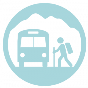 Icon with a hiker and a bus