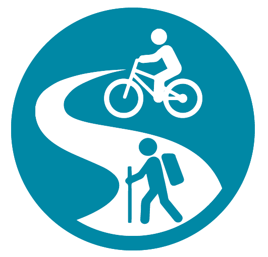 Icon with people riding a trail